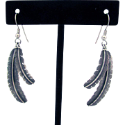 "Sterling Navajo Double Feather Earrings Signed ""aj Nelson"""