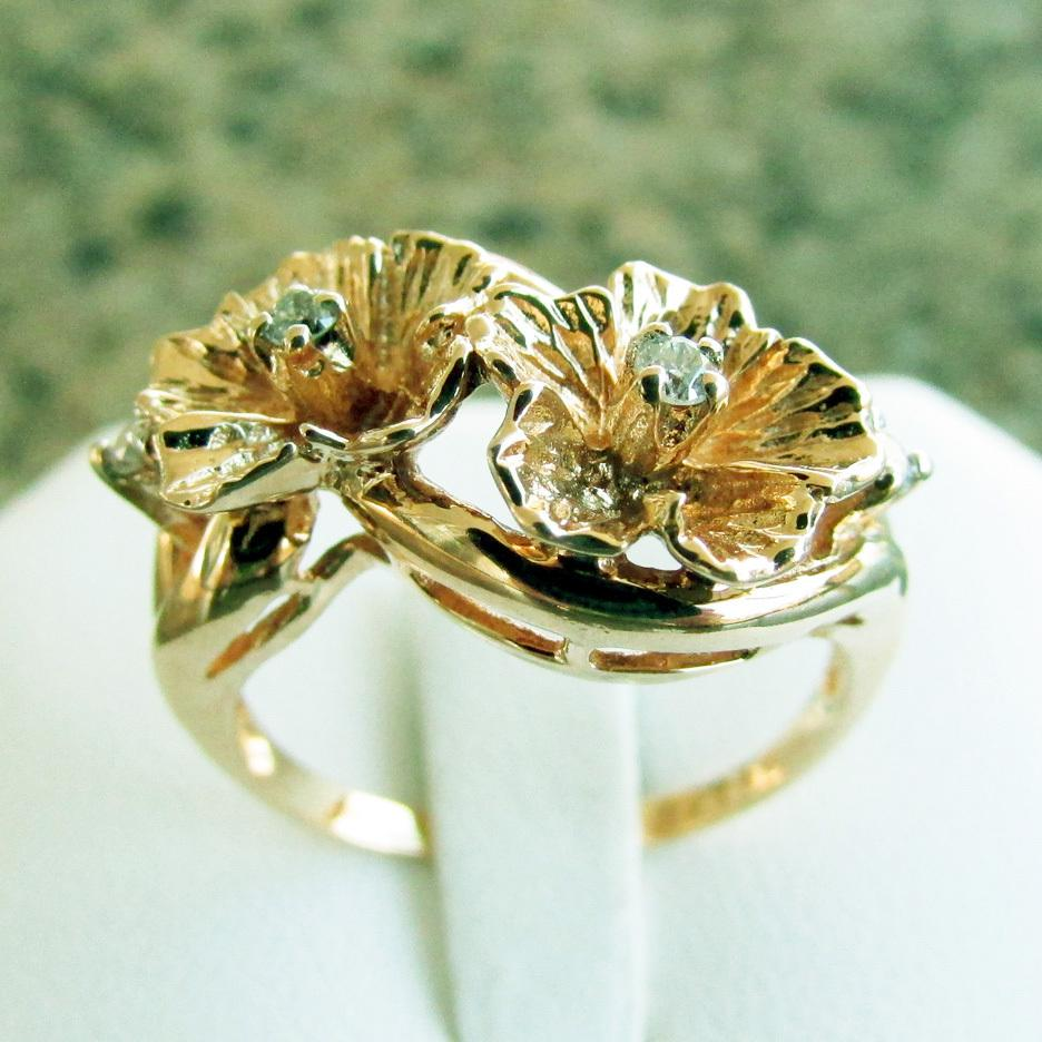 14k yellow gold flower ring with diamonds size 7 14 sold ruby lane mightylinksfo
