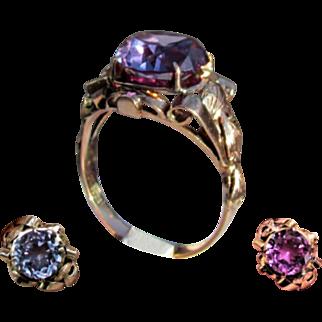 14K Pinkish Yellow Gold Art Nouveau Lab Color Change Sapphire Ring