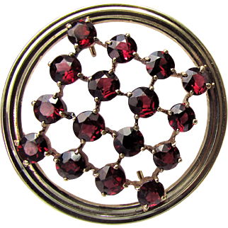 9.4 Grams,  14K YG Red (No Brown) Garnet Pin from Weinman Brothers of NY