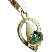 """18K Yellow Gold Emerald Necklace, Pendant & 18"""" Chain"""