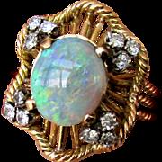 14K Semi Black Opal Ring with Diamonds, Size 9 1/2