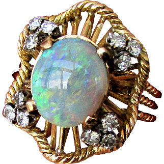 14K Semi Black Opal Ring with Diamonds, Size 9 1/2