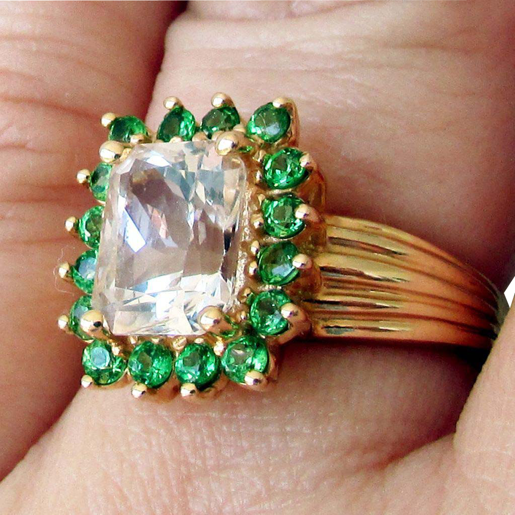 tsavorite diamonds stunning rings ring tapered baguette garnet with platinum
