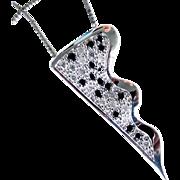 "18K WG Black & White Diamond Pendant with 10K WG Chain 18"""