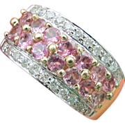 NOS Pink Tourmaline & Diamond Ring Size 6 3/4