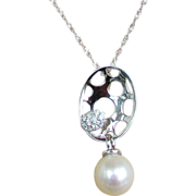 """14K White Gold Necklace with Cultured Pearl & Diamond Pendant, Chain 18"""""""