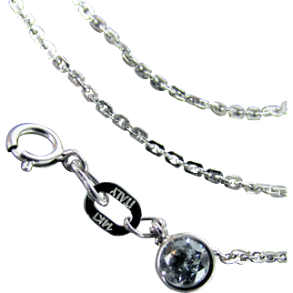 Italian 14K White Gold Cable Link Chain, 16 Inches