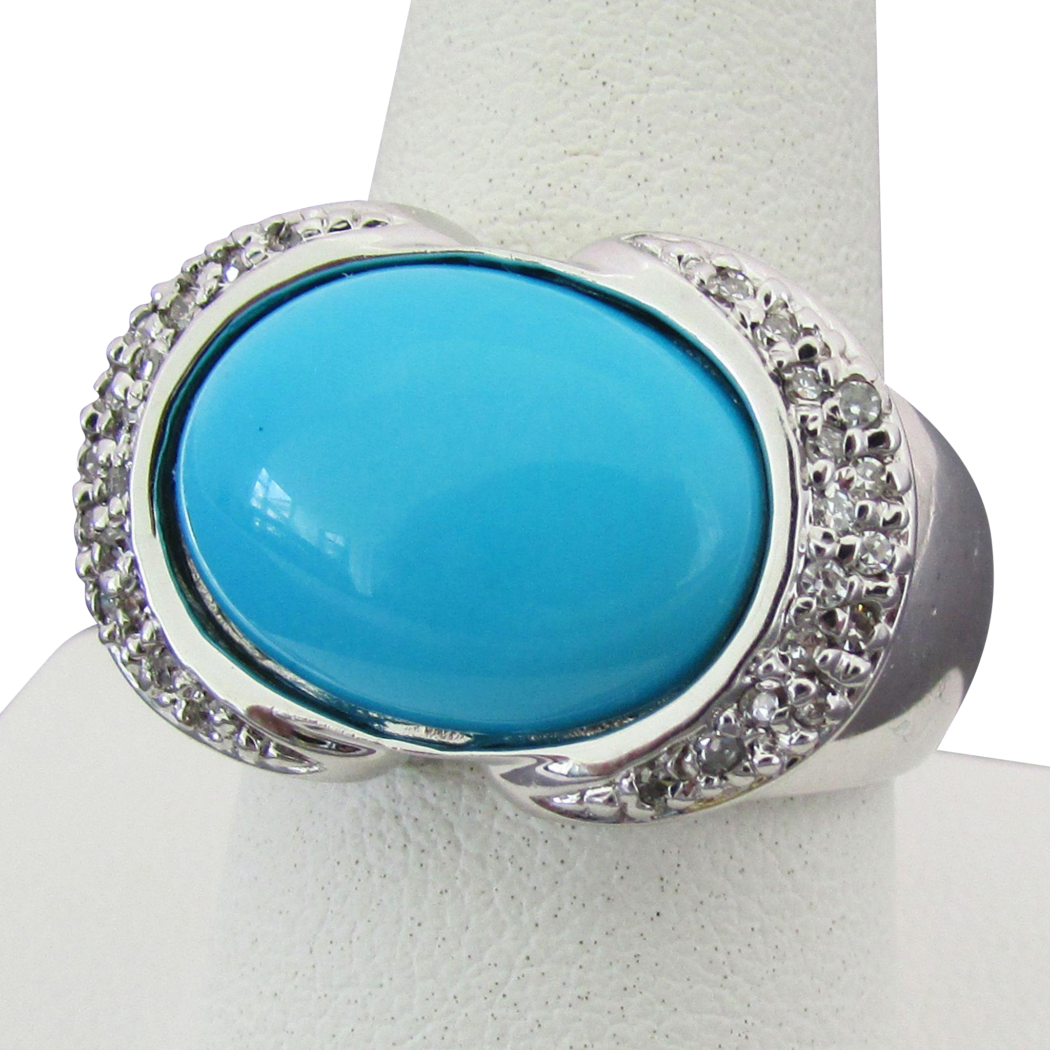 14k white gold turquoise ring with accents size 9