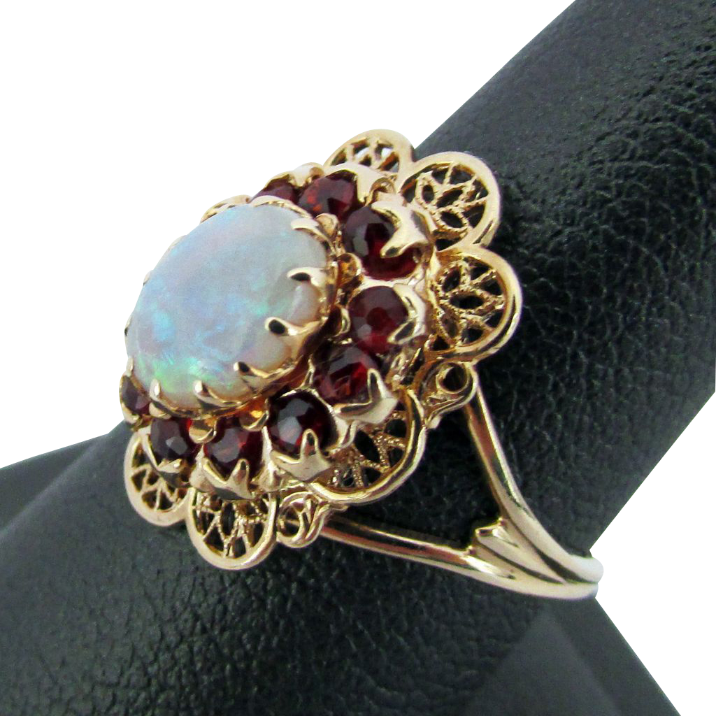 10k yellow gold opal garnet ring size 6 1 4 from