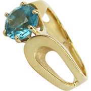 14K Yellow Gold Round Blue Topaz Ring Size 7