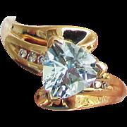 10K Yellow Gold Aquamarine Ring with Diamonds, Size 7