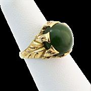Victorian 14K YG Jade Cabochon Ring Size 5