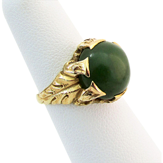 Victorian 14K YG Jade Cabochon Ring Size 5