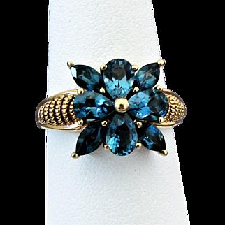 10K YG London Blue Topaz Ring Size 8 1/2