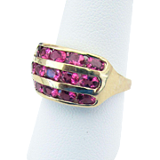 14K Yellow Gold Pink Tourmaline Ring Size 9