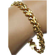 12.1 Grans, 18K Italian Yellow Gold Stampato Bracelet, 7 3/8 Inches