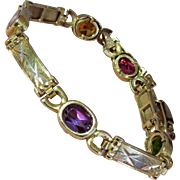 12.7 Grams, Quality 14K Yellow Gold Multi Gem Bracelet with Peridot + Gold, Pink, Purple and Red Sapphires