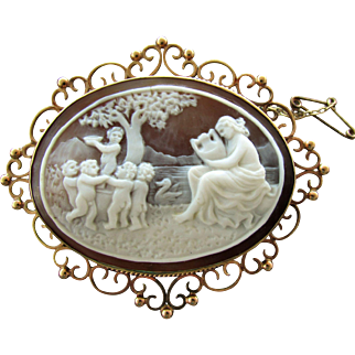 9K Cameo Brooch with Lady & Children Getting Water by Pond with Swan