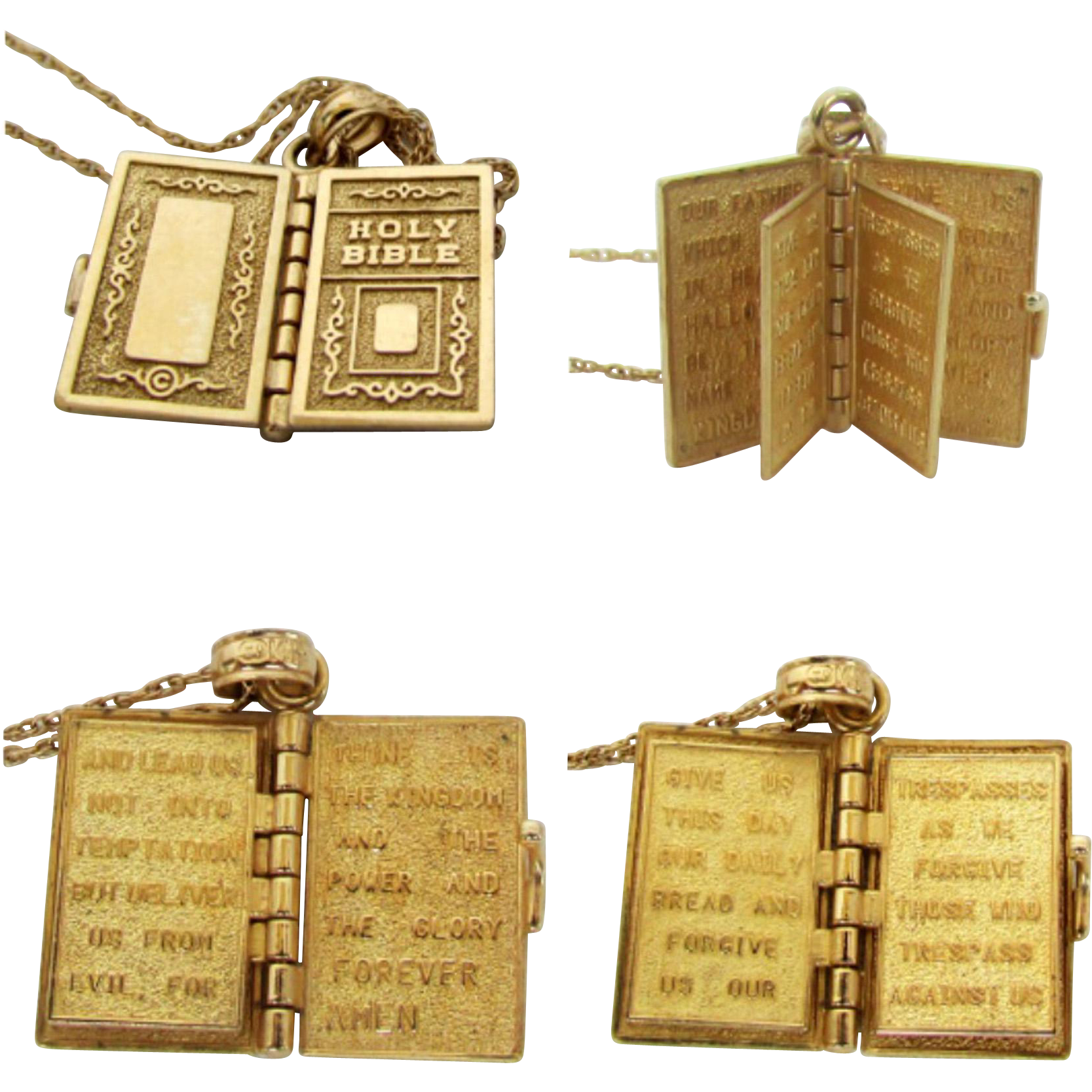 14k yellow gold 6 page bible pendant with lords prayer and 14k yg 14k yellow gold 6 page bible pendant with lords prayer and 14k yg sold ruby lane mozeypictures Image collections