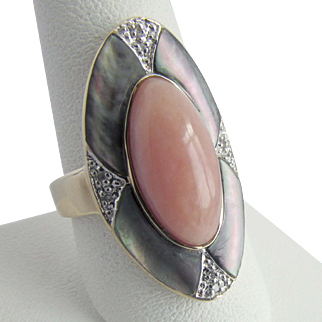 14K YG Pink Peruvian Opal and Abalone MOP Ring Size 9 1/4