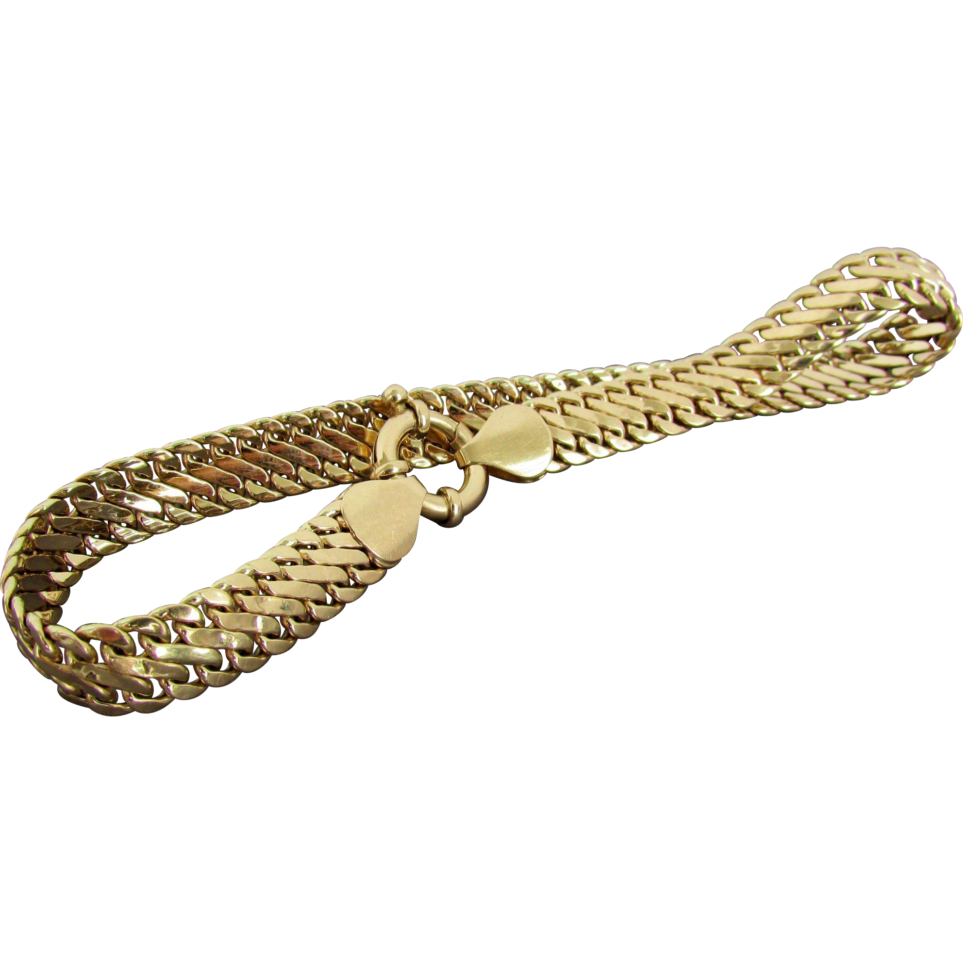 mens gold railroad link inch bracelet bangles inches yellow bangle in and