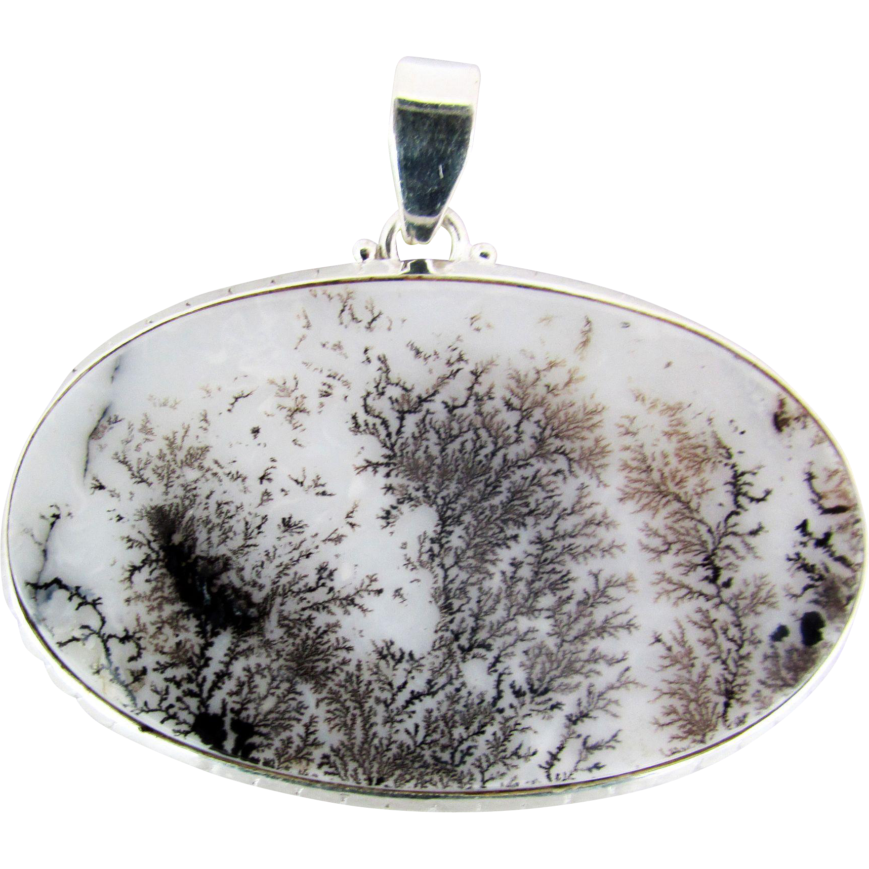 large dendritic opal landscape pendant in sterling silver