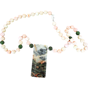 Picture / Landscape Stone Necklace with Coral and Jade Beads