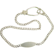 Napier Sterling Silver Gentleman's Watch Chain with Engravable Plaque, Circa 1940's
