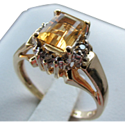 14K Yellow Gold Natural Citrine Ring with Diamond Accents Size 7 1/4