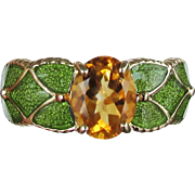 10K Yellow Gold Golden Citrine & Green Enamel Ring, Size 8