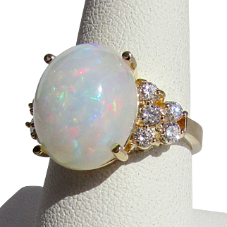 14K Opal and Diamond Ring Size 7 1/2