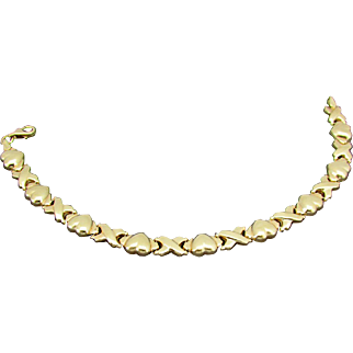 "14K Italian Gold Bracelet with ""Hugs & Hearts"" Design"