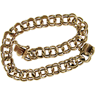 15.9 Grams, 14K YG Double Link Bracelet 7 5/8 Inches