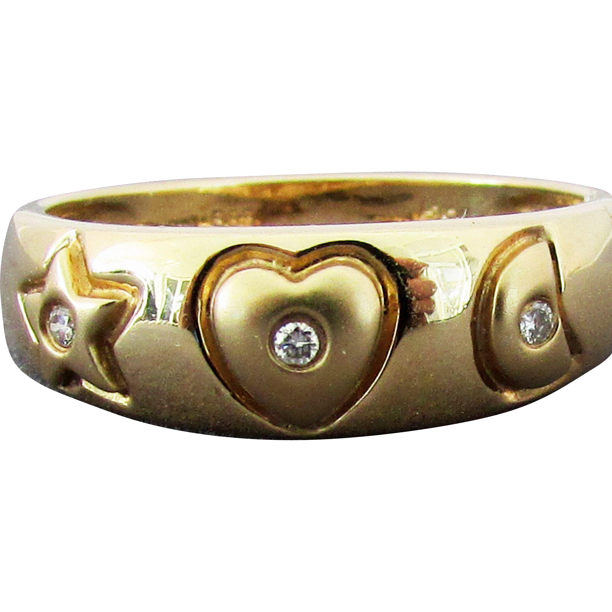 14K YG Band Ring with Star, Heart & Crescent Moon, Size 8 1/4