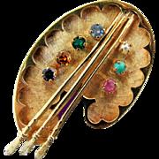 8.65 Grams, 14K YG Artist's Palette Pin with Gemstones