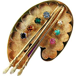 14K YG Artist's Palette Pin with Gemstones