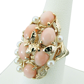 14K YG Light Pink Coral & Cultured Pearl Ring Size 7