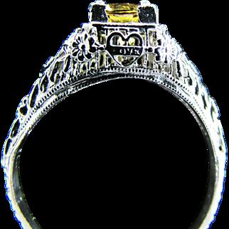 Platinum Yellow Sapphire Ring Size 7