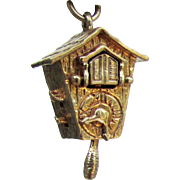 14K YG Articulated Cuckoo Clock Charm with Pop Out Bird and Moving Hands