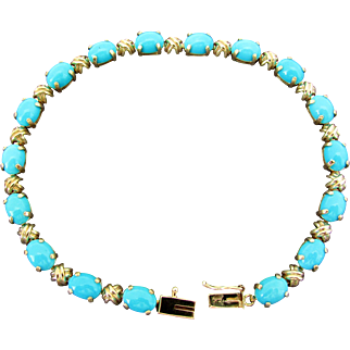 14K YG Turquoise Link Bracelet 8 Inches Closed