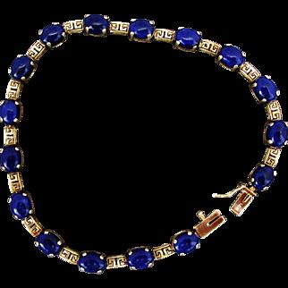 14K YG Lapis and Greek Key Gold Link Bracelet, 8 Inches Closed
