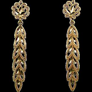 14K YG Dangle Earrings with Leaf Design