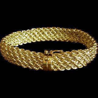 """14K YG Woven Chain Bracelet 7 1/2"""" Closed"""