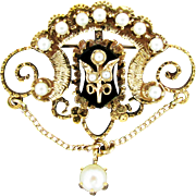 14K Yg Victorian Revival Cultured Pearl & Onyx Pin / Pendant