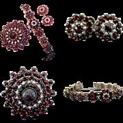 Bohemian Garnet & Cultured Pearl Set with Earrings, Brooch and Bracelet