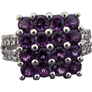14K WG Amethyst & Diamond Ring Size 6 1/2