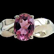 14K YG Pink Tourmaline Ring Size 9