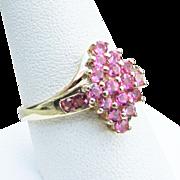14K YG Pink Tourmaline Pave Ring Size 9