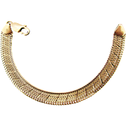 Italian 14K YG Etched Herringbone Bracelet